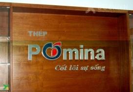Backdrop chữ inox + vách gỗ công ty thép Pomina
