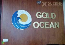 Backdrop lễ tân công ty Gold Ocean