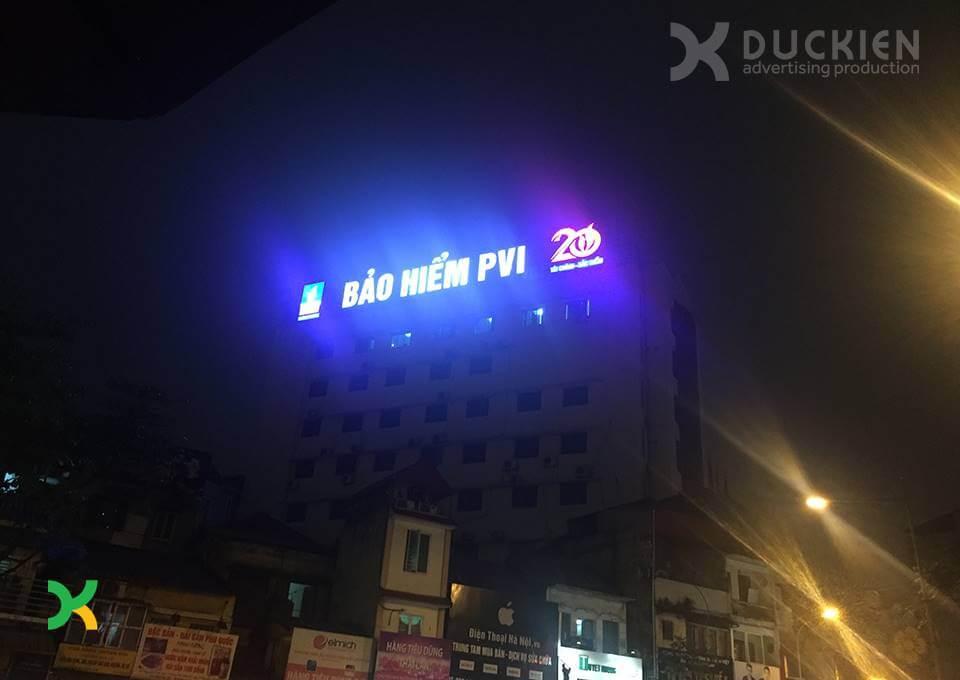 Biển quảng cáo PVI do Đức Kiên AD thi công tại phố Nguyễn Thái Học, quận Ba Đình
