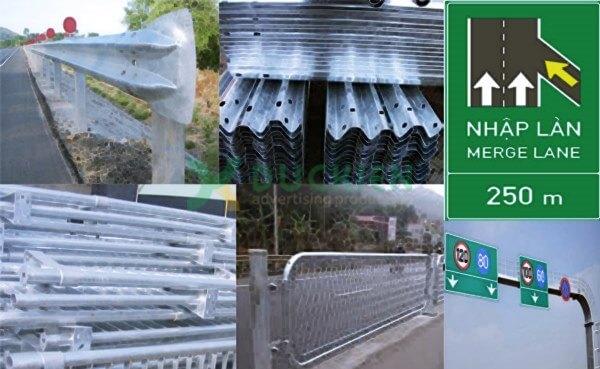 Tường hộ lan, biển báo giao thông được làm từ tôn