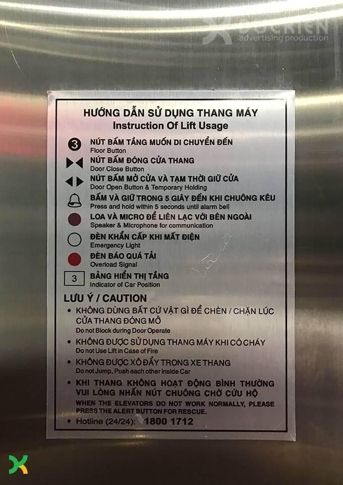 Biển chỉ dẫn thang máy bằng inox ăn mòn phun sơn