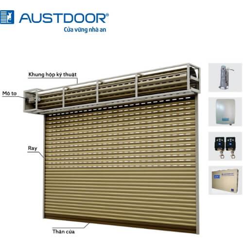 Thiết kế hộp kỹ thuật cửa cuốn điển hình với loại cửa nhãn hiệu Austdoor