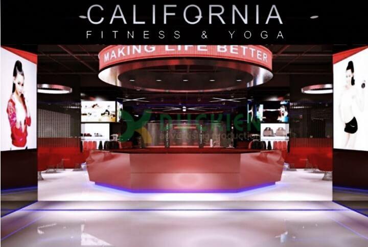 Không gian trang trí, biển quảng cáo bên trong của một thương hiệu fitness lớn